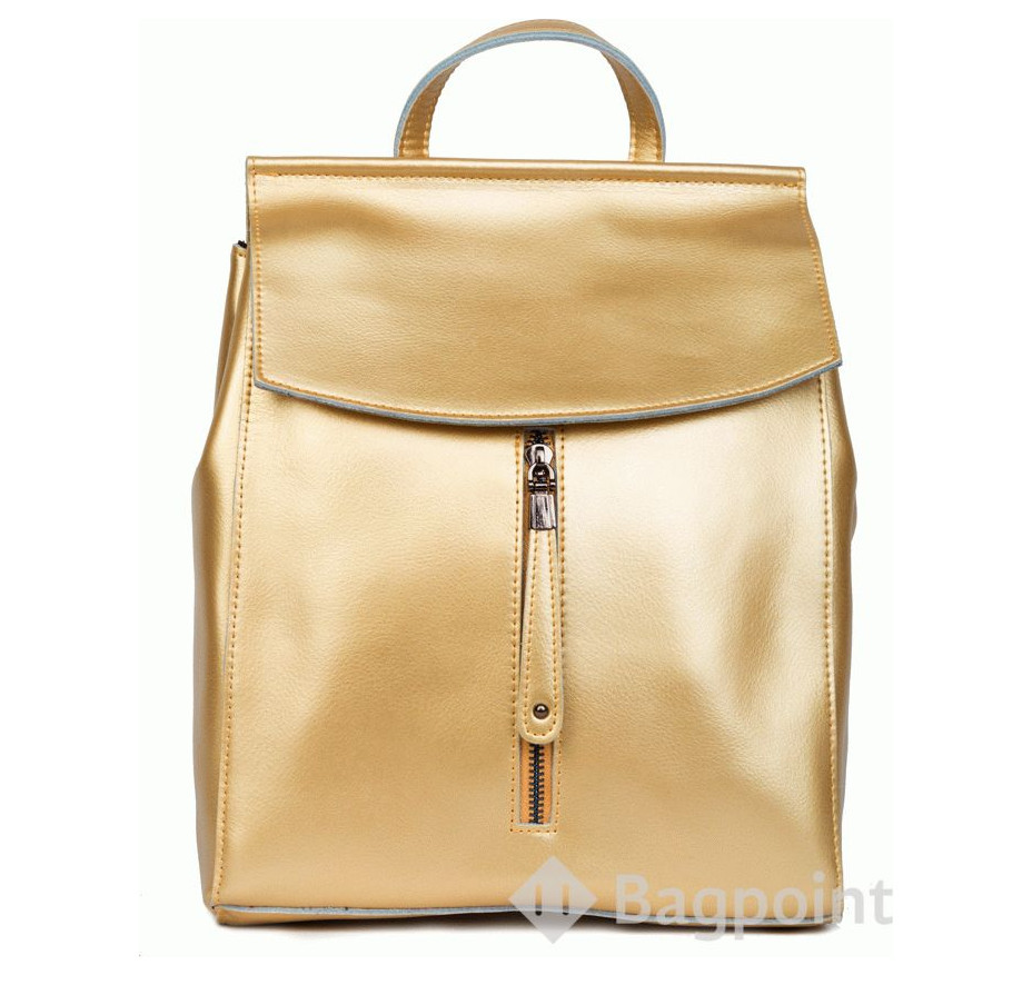 eb6be92dea09 Кожаный женский рюкзак-сумка JMD с молнией посередине золотой купить ...