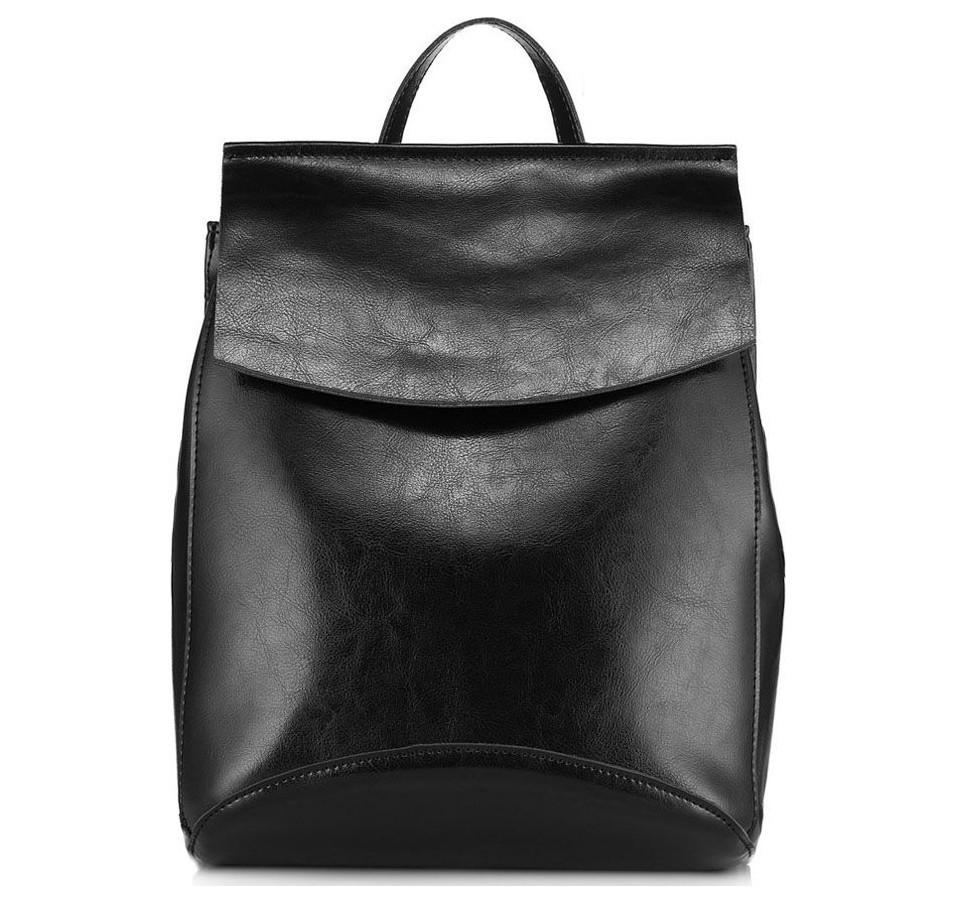 de14ef43d645 Черный кожаный женский рюкзак-сумка JMD купить в Москве в интернет ...
