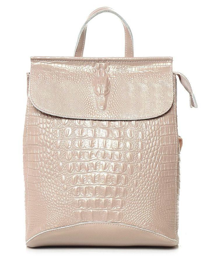 0eb54750cb92 Кожаный женский рюкзак Verlo бежевый перламутр купить в Москве в ...